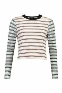Womens Contrast Striped Long Sleeve Top - pink - M, Pink