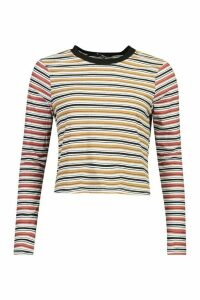 Womens Contrast Striped Long Sleeve Top - yellow - M, Yellow