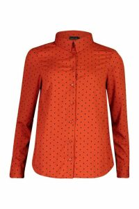 Womens Polka Dot Button Up Long Sleeve Shirt - orange - M, Orange