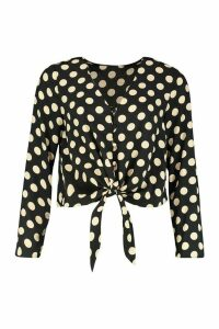 Womens Polka Dot Long Sleeve Button Up Tie Front Top - black - M, Black