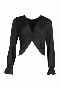 Womens Satin Twist Front Long Sleeve Blouse - black - 10, Black