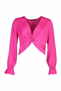 Womens Satin Twist Front Long Sleeve Blouse - Pink - 14, Pink
