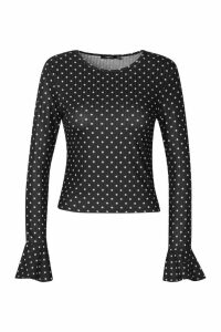 Womens Crew Neck Top With Fluted Sleeves - black - 10, Black