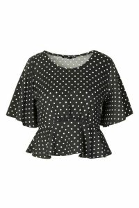 Womens Angel Sleeve Polka Dot Top - black - 16, Black