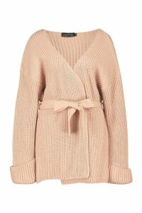 Womens Chunky Rib Knit Wrap Cardigan - pink - M, Pink