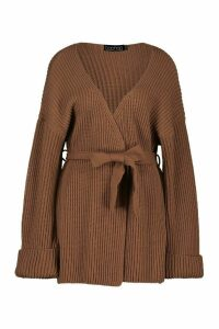 Womens Chunky Rib Knit Wrap Cardigan - beige - M, Beige