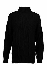 Womens Oversized Rib Knit Textured Roll Neck Jumper - black - M, Black