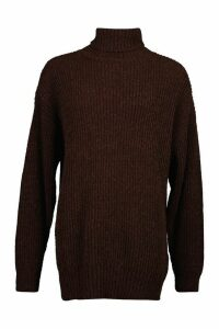 Womens Oversized Rib Knit Textured Roll Neck Jumper - brown - M, Brown