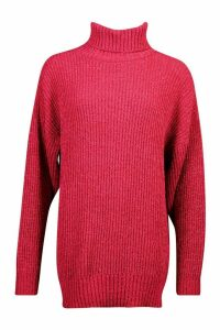 Womens Oversized Rib Knit Textured Roll Neck Jumper - pink - M, Pink