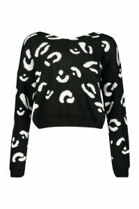 Womens Leopard Print Twist Back Jumper - Black - S/M, Black