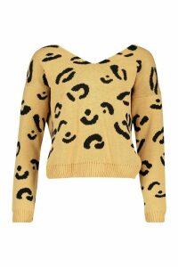 Womens Leopard Print Twist Back Jumper - beige - M/L, Beige