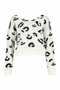 Womens Leopard Print Twist Back Jumper - white - M/L, White