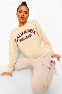Womens California Slogan Oversized Sweatshirt - Cream - Xl, Cream