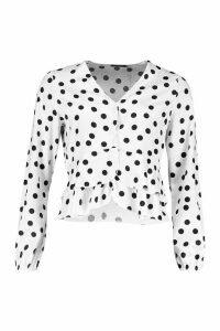 Womens Button Through Polka Dot Satin Blouse - black - 12, Black