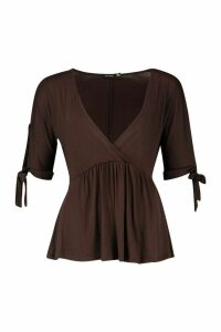 Womens Cross Wrap Front Tie Sleeve Smock Top - brown - 10, Brown