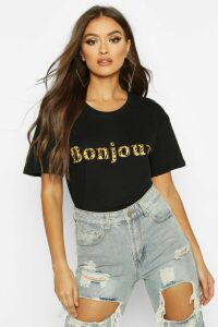 Womens Leopard Bonjour Slogan T-Shirt - black - XL, Black