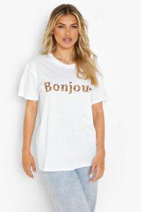 Womens Leopard Bonjour Slogan T-Shirt - white - M, White