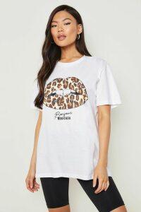 Womens Leopard Lips Slogan T-Shirt - White - Xl, White
