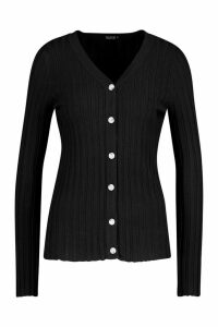 Womens Rib Knit Button Through Cardigan - black - M, Black