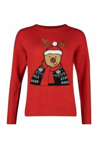Womens Sequin Detail Reindeer Christmas Jumper - red - M, Red
