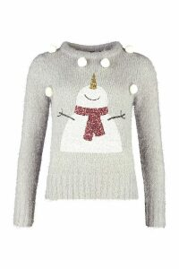 Womens Fluffy Knit Pompom Snowman Christmas Jumper - Grey - M, Grey