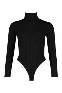 Jumbo Rib Roll Neck Jersey Bodysuit - black - 6, Black