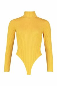 Jumbo Rib Roll Neck Jersey Bodysuit - yellow - 14, Yellow