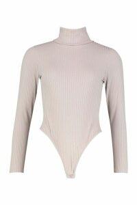 Jumbo Rib Roll Neck Jersey Bodysuit - grey - 8, Grey