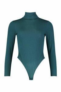 Jumbo Rib Roll Neck Jersey Bodysuit - green - 16, Green