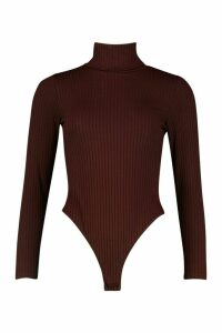 Jumbo Rib Roll Neck Jersey Bodysuit - brown - 14, Brown