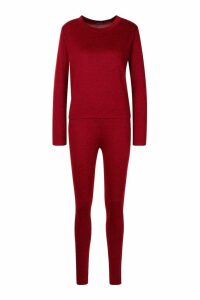 Womens Long Sleeve T-Shirt & Jogger Knitted Lounge Set - red - 14, Red