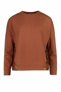 Womens Crotchet Panelled Sweatshirt - beige - 6, Beige