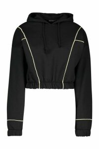 Womens Piping Detail Cropped Hoody - black - 14, Black