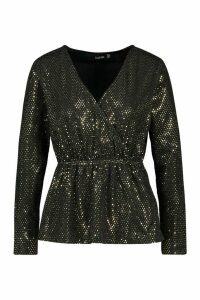 Womens Sequin Wrap Peplum Top - metallics - 8, Metallics