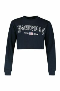 Womens Nashville Slogan Crop Sweatshirt - navy - L, Navy