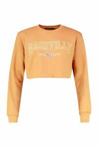 Womens Nashville Slogan Crop Sweatshirt - beige - M, Beige