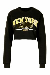 Womens New York Slogan Sweatshirt - black - L, Black