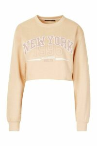 Womens New York Slogan Sweatshirt - cream - M, Cream