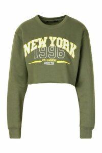 Womens New York Slogan Sweatshirt - green - M, Green
