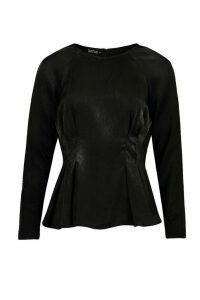 Womens Satin Pleat Front Fitted Blouse - black - 12, Black