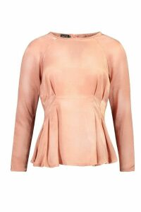 Womens Satin Pleat Front Fitted Blouse - Pink - 8, Pink