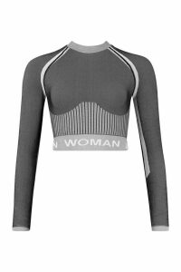 Womens Fit Contrast Seamless Knit Woman Active Crop Top - grey - M, Grey