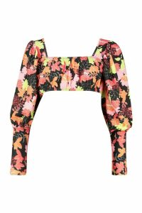 Womens Floral Puff Sleeve Crop - Black - 16, Black