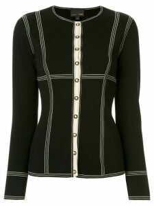 Fendi Pre-Owned striped details fitted cardigan - Black