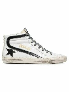 Golden Goose black and white Slide leopard lace leather high-top