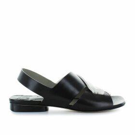 Ixos Black/white Leather Flat Sandal