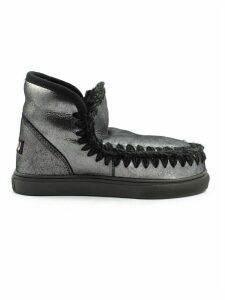Mou Eskimo Sneaker In Microglitter Black Sheepskin