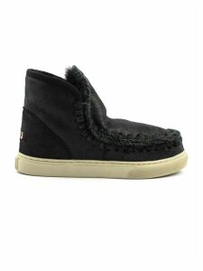 Mou Eskimo Sneaker In Black Sheepskin