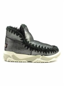 Mou Eskimo Trainer In Microglitter Black Sheepskin