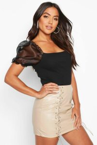 Womens Organza Puff Sleeve Ribbed Crop Top - Black - 14, Black